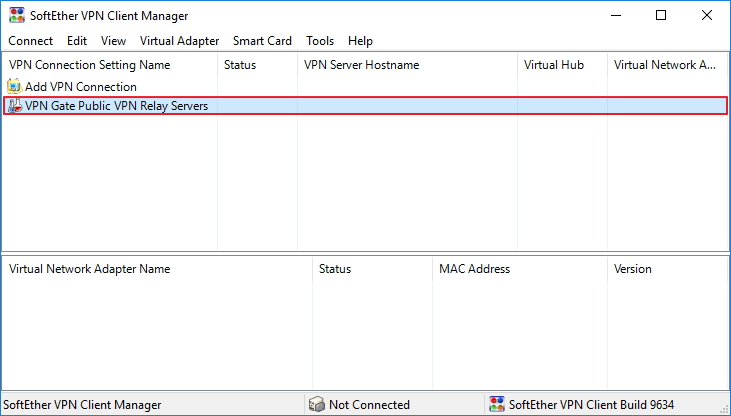 Переход в раздел VPN Gate Public VPN Relay Servers